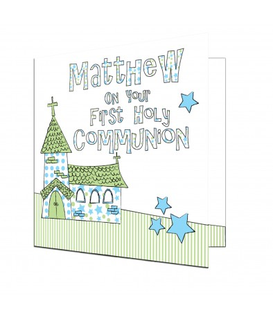 Personalised Card - Whimsical Church (1st Holy Communion � Blue)