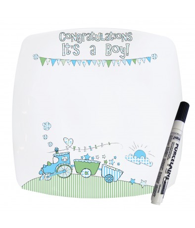 Message Plate - Whimsical Train (Its a Boy)