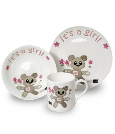 Breakfast Set - It's a Girl (Cotton Zoo - Tweed the Bear)