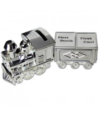 Personalised Train Moneybox with Tooth & Curl Trinket