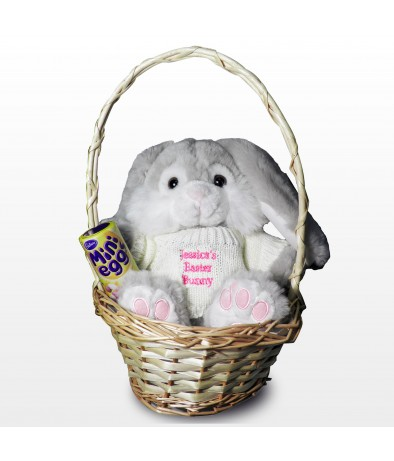 Personalised Easter Bunny Basket Pink