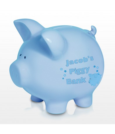 Personalised Blue Ceramic Piggy Moneybox