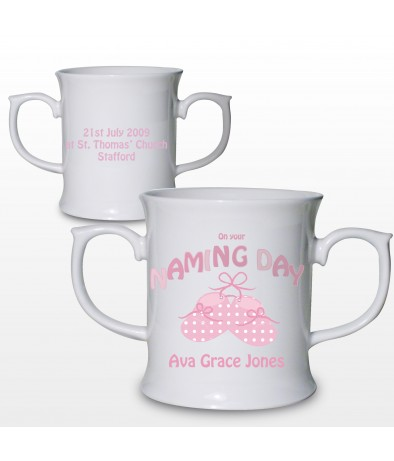 Personalised Bootee Pink Naming Day Loving Mug