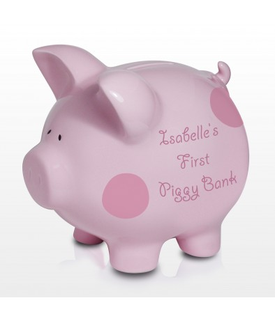 Personalised Piggy Bank - Polka Dot (Pink)