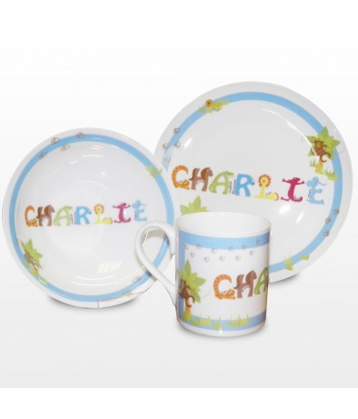 Personalised Breakfast Set - Animal Name (Blue)