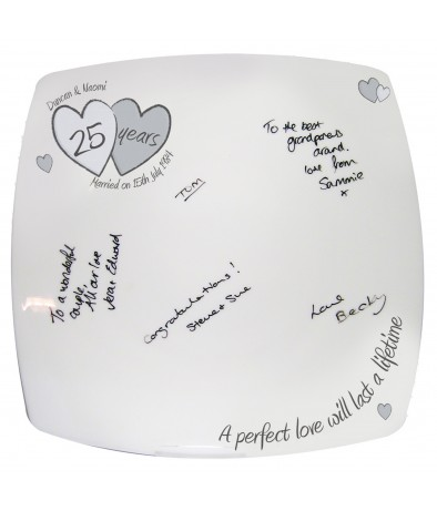 Personalised Message Plate - A Perfect Love (Silver Anniversay)