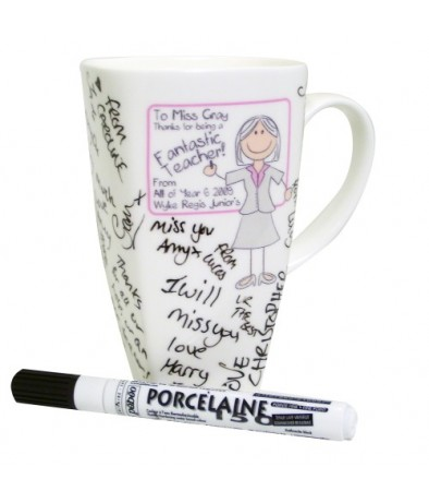 Personalised Pink Teachers Whiteboard Message Mug