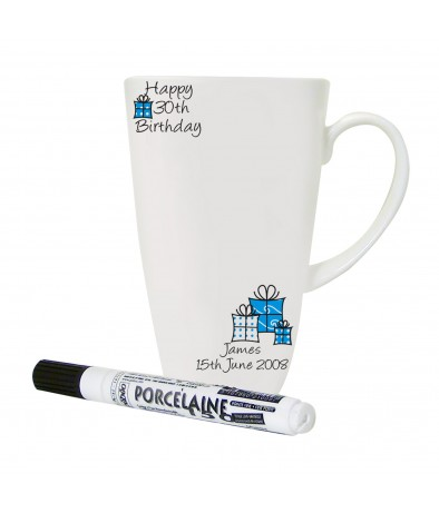 Personalised Blue Happy Birthday Message Mug