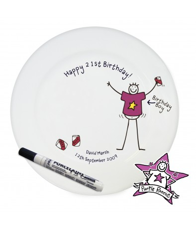 Personalised Message Plate - Purple Ronnie (Happy Birthday)