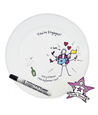 Personalised Message Plate - Purple Ronnie (You're Engaged)