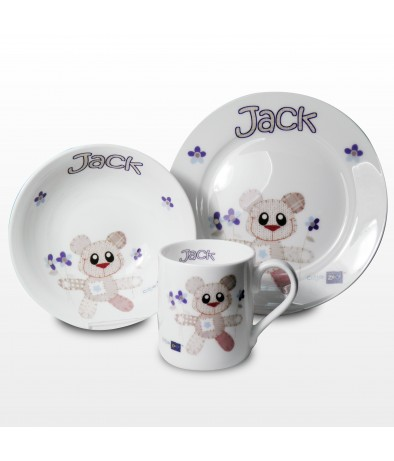 Personalised Breakfast Set - Cotton Zoo (Tweed The Bear - Boy)