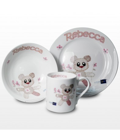 Personalised Breakfast Set - Cotton Zoo (Tweed The Bear - Girl)