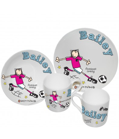 Personalised Breakfast Set -  Bang on the Door (Football Crazy)