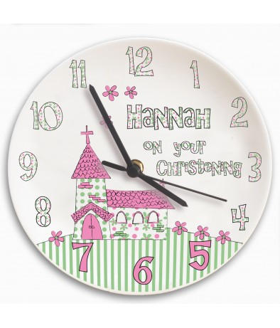 Personalised Clock - Children's (Whimsical Church - Christening)