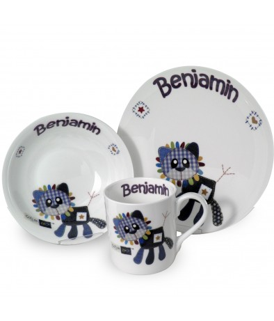 Personalised Breakfast Set - Cotton Zoo (Denim the Lion -  Boys)