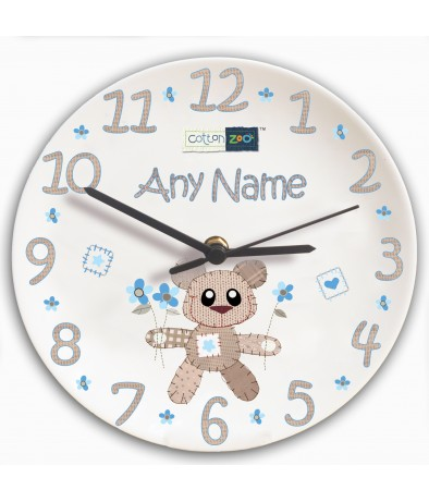 Personalised Boys Clock - Cotton Zoo (Tweed the Bear)