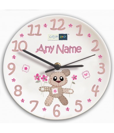 Personalised Girls Clock - Cotton Zoo (Tweed the Bear)