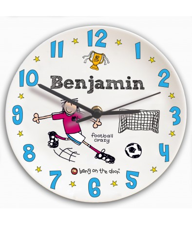 Personalised Boys Clock - Bang on the Door (Football Crazy)