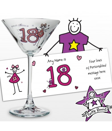 Personalised Purple Ronnie Age Young Female Cocktail Glass