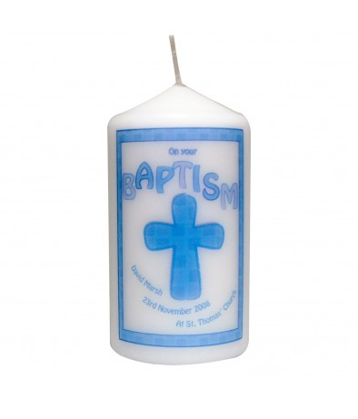 Personalised Blue Baptism Candle