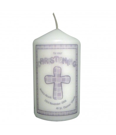 Personalised Grey Christening Candle