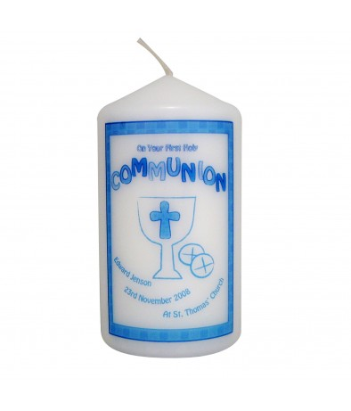 Personalised Blue First Holy Communion Candle