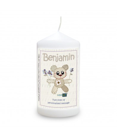 Personalised Cotton Zoo Blue Tweed the Bear Candle