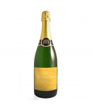 Personalised Champagne Bottle - Elegant Yellow
