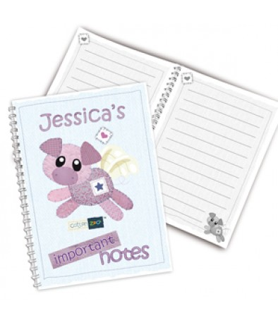Personalised A5 Notebook for Girls - Cotton Zoo (Organza the Pig)
