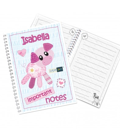 Personalised Girls Notebook - Cotton Zoo (Organdie the Piglet)