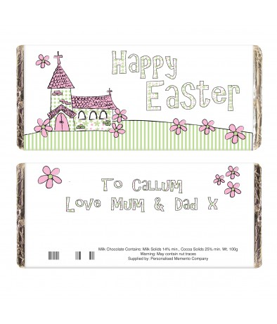 Personalised chocolate bar whimsical church easter just for personalised chocolate bar whimsical church easter negle Image collections