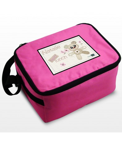 Personalised Cotton Zoo Girls Tweed the Bear Lunch Box