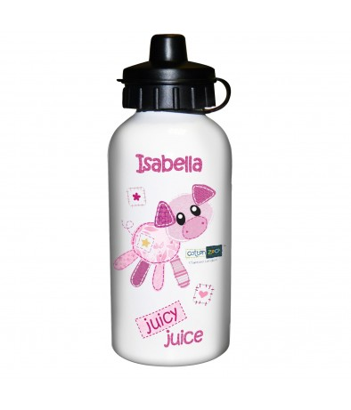 Personalised Girls Drinks Bottle - Cotton Zoo (Organdie The Piglet)