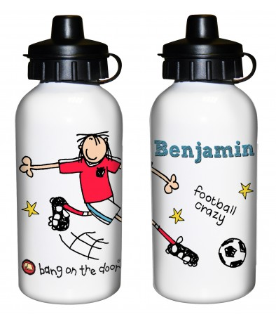 Personalised Boys Drinks Bottle - Bang on the Door (Football Crazy)
