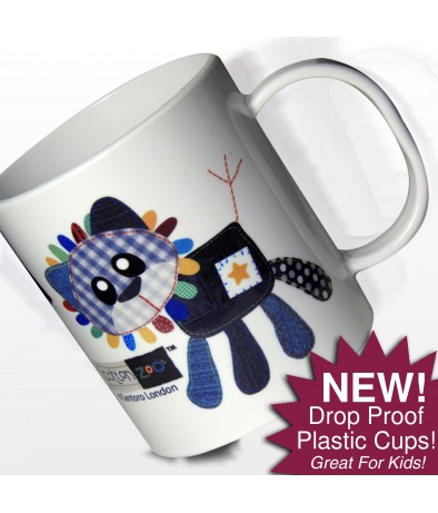Personalised Boys Plastic Cup - Cotton Zoo (Denim the Lion)