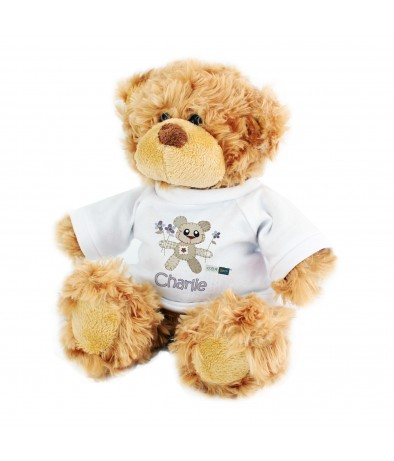 Personalised Cotton Zoo Tweed the Bear Boys Teddy