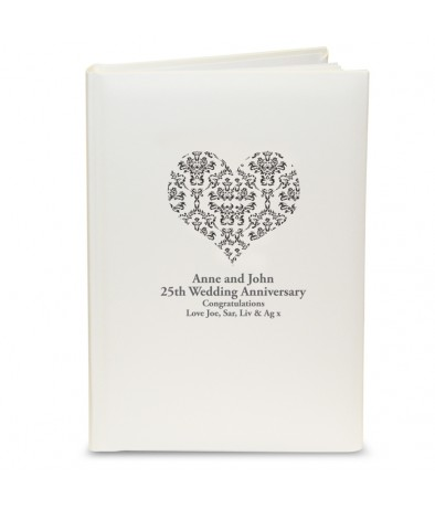 Photo Album with Sleeves - Black Damask Heart