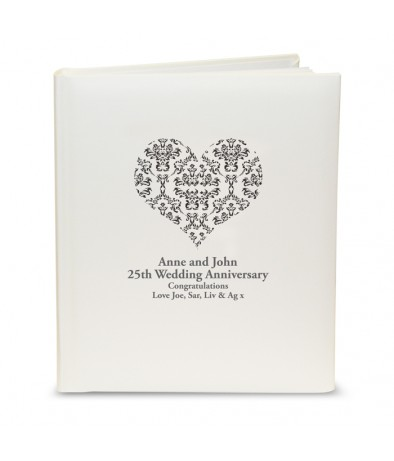 Traditional Photo Album - Black Damask Heart