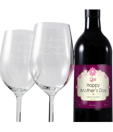 Mothers Red Wine and Two Glasses