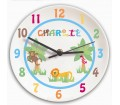Personalised Clock for Boys Bedroom - Animal Alphabet