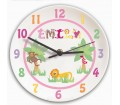Personalised Clock for Girls Bedroom - Animal Alphabet