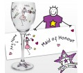 Personalised Purple Ronnie Wedding Maid of Honour Wine Glass