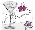 Personalised Purple Ronnie Wedding Bride Cocktail Glass