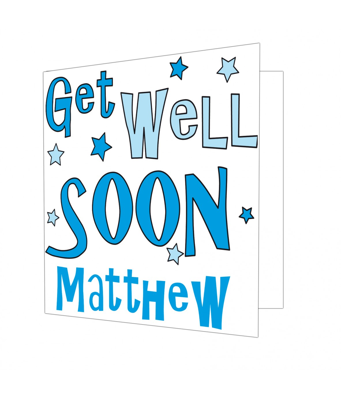 Personalised Get Well Blue Stars Card Just For Gifts