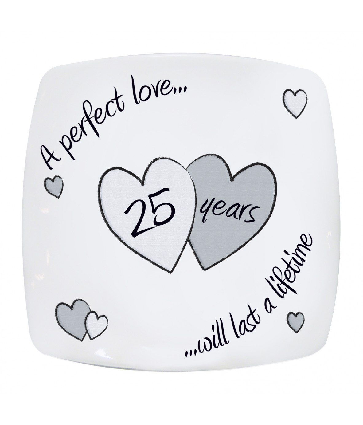 Perfect Gift For 25th Wedding Anniversary: Perfect Love Silver Anniversary Plate