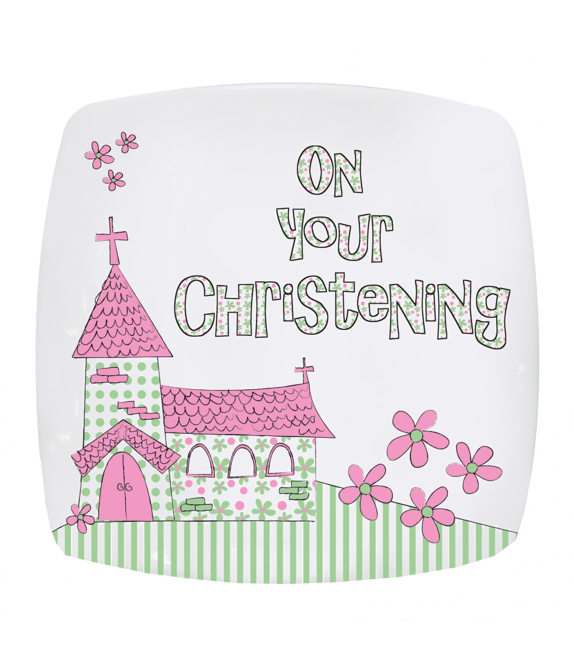 Pink Christening Church Plate Just For Gifts