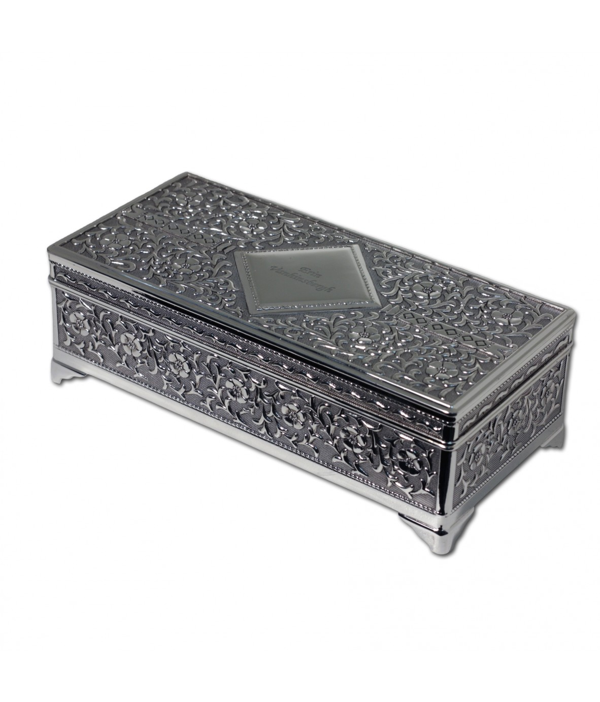 Personalised Antique Silver Plated Jewellery Box Just For Gifts