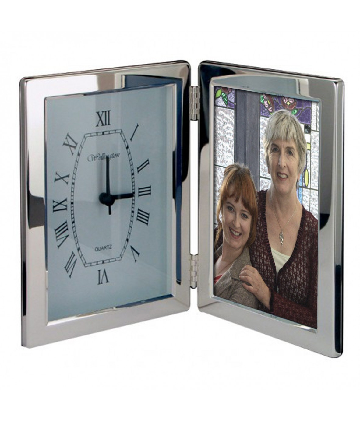 personalised silver clock 6x4 photoframe just for gifts. Black Bedroom Furniture Sets. Home Design Ideas