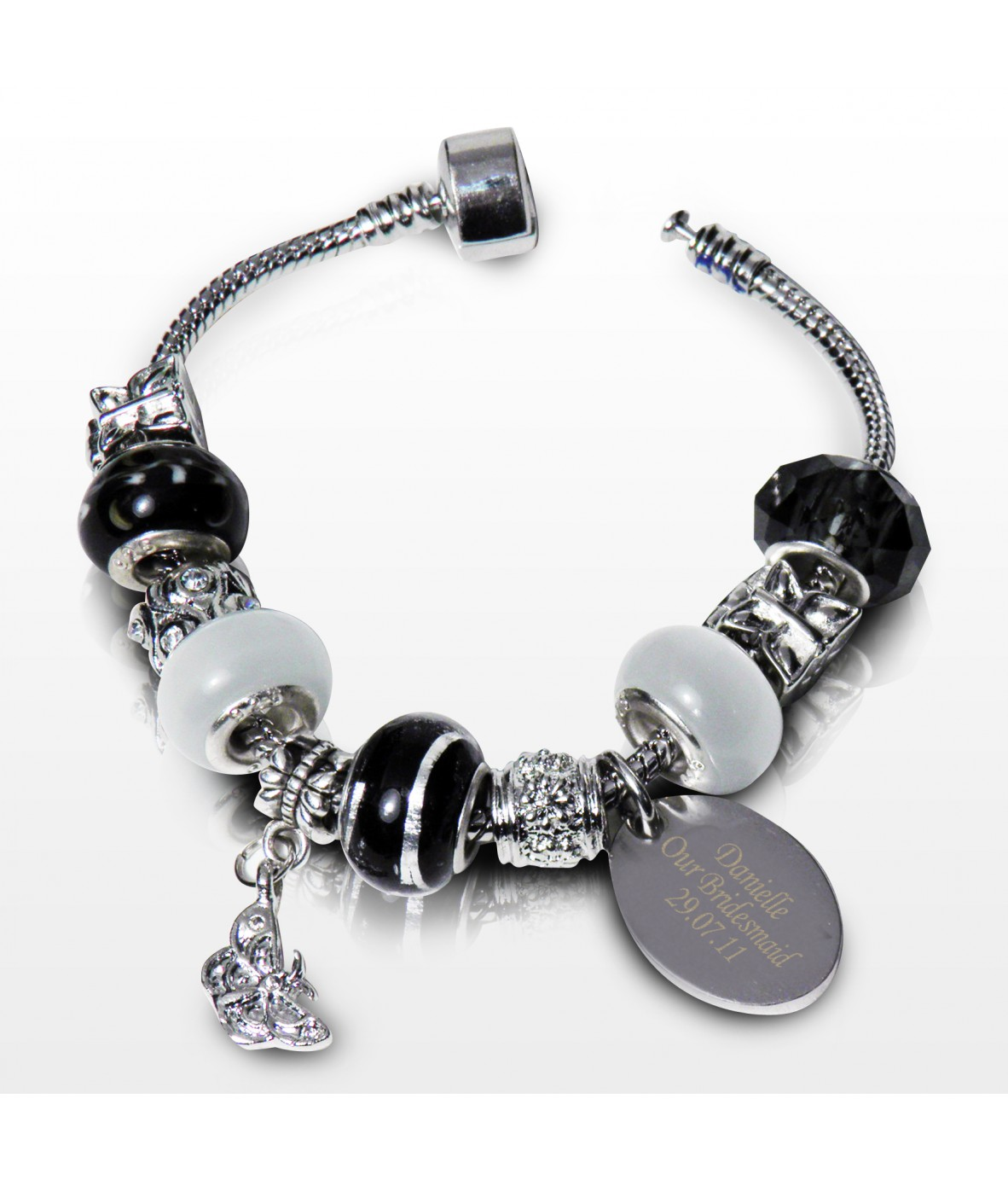 personalised charm bracelet jet 21cm just for gifts