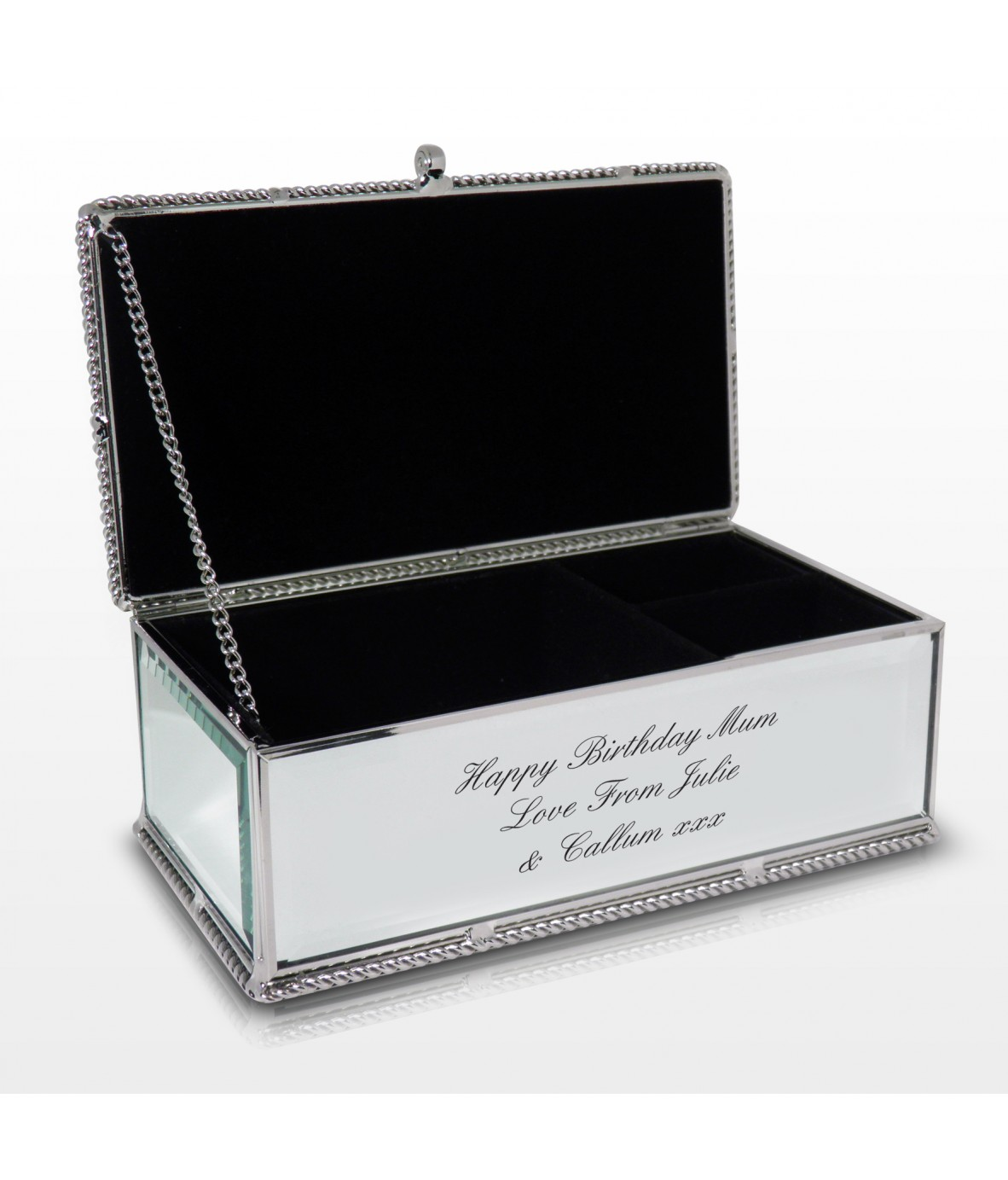 Peronalised jewellery box mirrored just for gifts for Mirror jewellery box